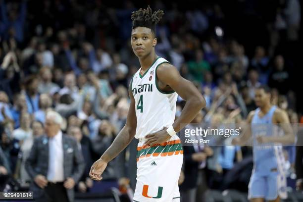 Lonnie Walker IV of the Miami Hurricanes reacts in the second half against the North Carolina Tar Heels during the quarterfinals of the ACC Men's...