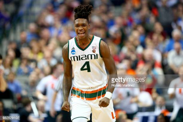Lonnie Walker IV of the Miami Hurricanes reacts in the second half while taking on the Loyola Ramblers in the first round of the 2018 NCAA Men's...