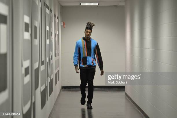 Lonnie Walker IV of the San Antonio Spurs arrives before the game against the Denver Nuggets during Game Six of Round One against the Denver Nuggets...