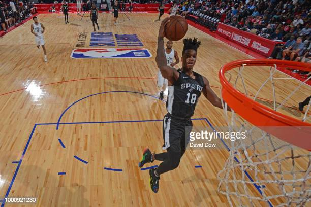 Lonnie Walker IV of the San Antonio Spurs goes to the basket against the Milwaukee Bucks during the 2018 Las Vegas Summer League on July 12 2018 at...