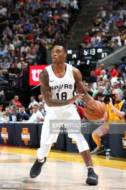 Lonnie Walker IV of the San Antonio Spurs handles the ball against the Utah Jazz during the 2018 Summer League at the Vivint Smart Home Arena on July...