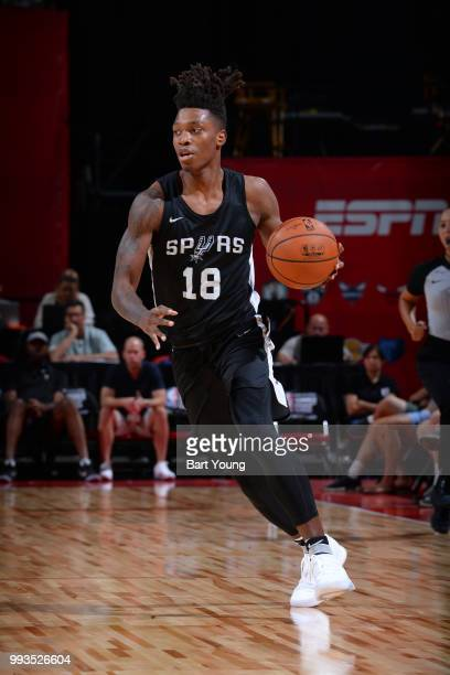 Lonnie Walker IV of the San Antonio Spurs handles the ball against the Indiana Pacers during the 2018 Las Vegas Summer League on July 7 2018 at the...