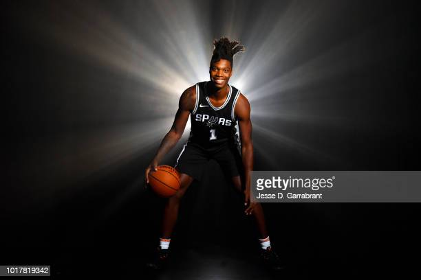 Lonnie Walker IV of the San Antonio Spurs poses for a portrait during the 2018 NBA Rookie Photo Shoot on August 12 2018 at the Madison Square Garden...