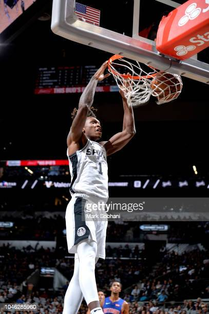 Lonnie Walker IV of the San Antonio Spurs shoots the ball against the Detroit Pistons during a preseason game on October 5 2018 at the ATT Center in...