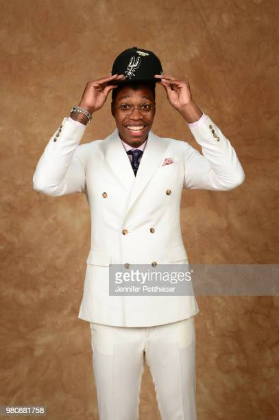 Lonnie Walker poses for a portrait after being drafted by the San Antonio Spurs during the 2018 NBA Draft on June 21 2018 at Barclays Center in...