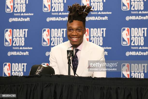 Lonnie Walker speaks to the media after being selected by the San Antonio Spurs at the 2018 NBA Draft on June 21 2018 at the Barclays Center in...