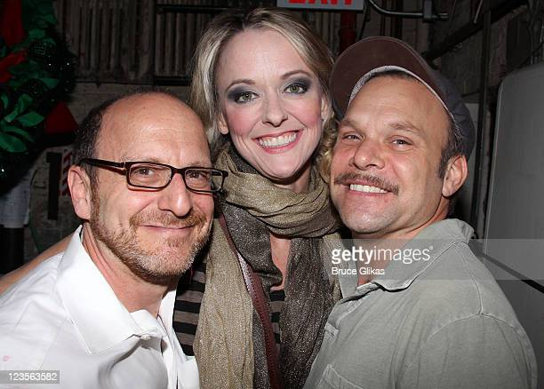 Lonny Price Angie Schworer and Norbert Leo Butz pose backstage at the hit musical 'Catch Me If You Can' on Broadway at The Neil Simon Theater on June...