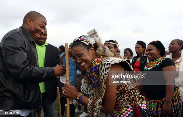 Lonwabo Sambudla attends the uMemulo ceremony of his fiance President Jacob Zuma's daughter Duduzile C at the Zuma homestead in Nkandla on April 21...