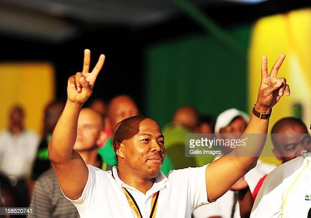 Lonwabo Sambudla shows support for his father in law Jacob Zuma at the ANC Mangaung elective conference at the University of Free State on December...