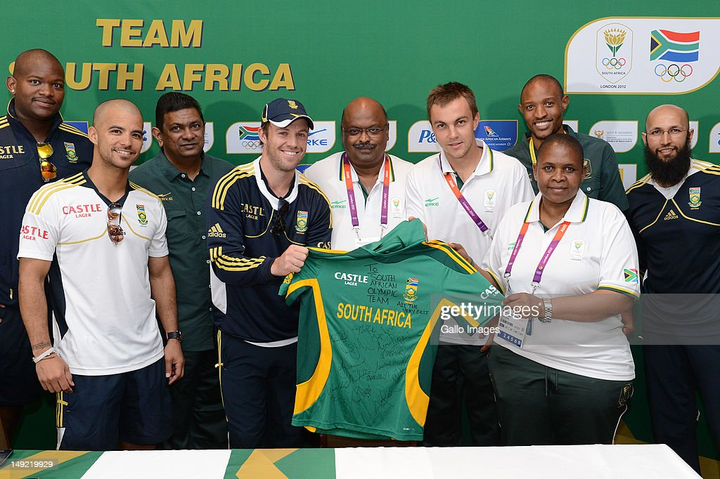 Lonwabo Sotsobe, JP Duminy, Kevin Subban, AB de Villiers, Tubby Reddy (SACOC CEO), LJ van Zyl, Khotso Mokoena, Patience Shikwambana (Chef de Mission) and Hashim Amla during the South African Olympic Team Press Conference from Copthorne Tara Hotel, Kensington on July 25, 2012 in London, England.