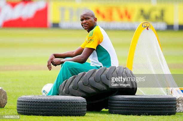 Lonwabo Tsotsobe looks on during the South African national cricket team nets session and press conference from Sahara Park Kingsmead on December 24...