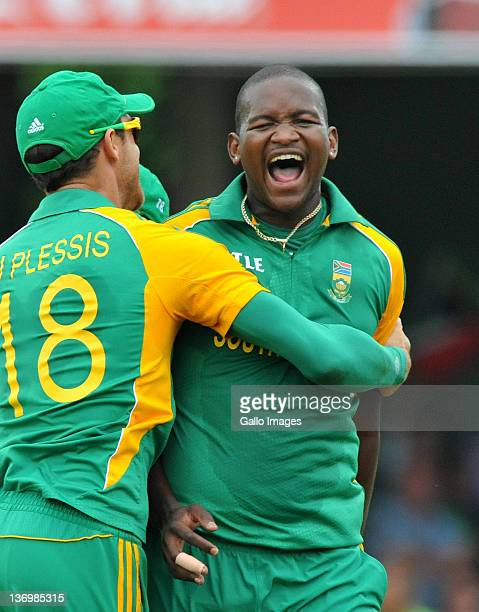 Lonwabo Tsotsobe of South Africa celebrates the wicket of Kumar Sangakkara of Sri Lanka for 3 runs during the 2nd One Day International match between...
