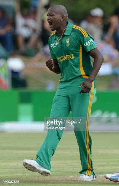 Lonwabo Tsotsobe of South Africa celebrates the wicket of Martin Guptill during the 3rd One Day International match between South Africa and New...