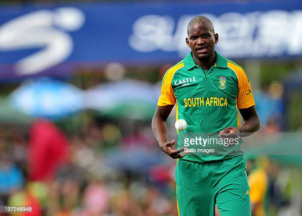 Lonwabo Tsotsobe of South Africa during the 3rd One Day International match between South Africa and Sri Lanka at Chevrolet Park on January 17 2012...