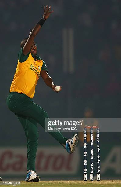 Lonwabo Tsotsobe of South Africa in action during the ICC World Twenty20 Bangladesh 2014 Warm Up match between South Africa and Bangladesh A at the...