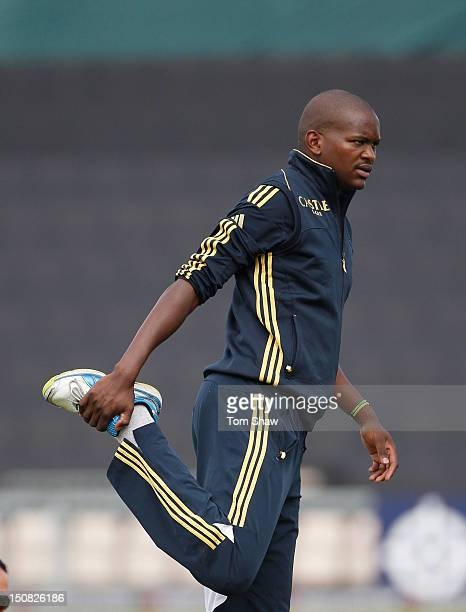 Lonwabo Tsotsobe of South Africa warms up during the England nets session at Ageas Bowl on August 27 2012 in Southampton England