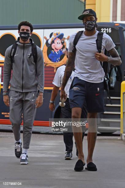 Lonzo Ball and Brandon Ingram of the New Orleans Pelicans arrive to the arena before the game against the Washington Wizards on August 7 2020 in...