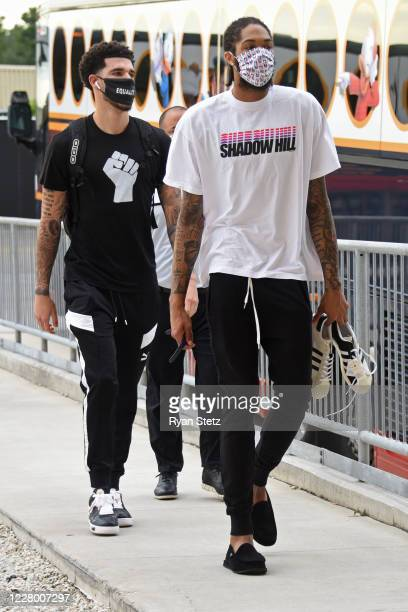 Lonzo Ball and Brandon Ingram of the New Orleans Pelicans arrive to the arena before the game against the Sacramento Kings on August 11 2020 in...