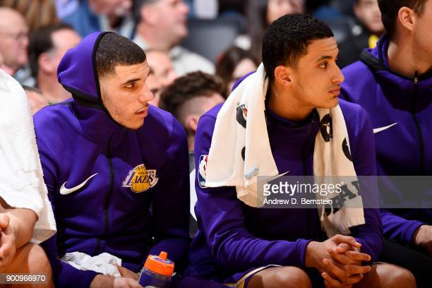 Lonzo Ball and Kyle Kuzma of the Los Angeles Lakers look on during the game against the Portland Trail Blazers on December 23 2017 at STAPLES Center...