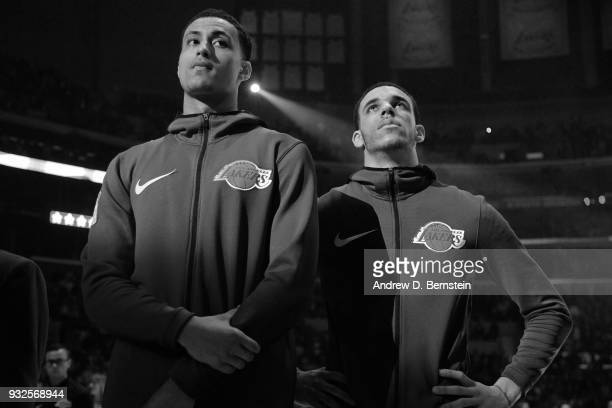 Lonzo Ball and Kyle Kuzma of the Los Angeles Lakers stand for the National Anthem before the game against the Denver Nuggets on March 13 2018 at...