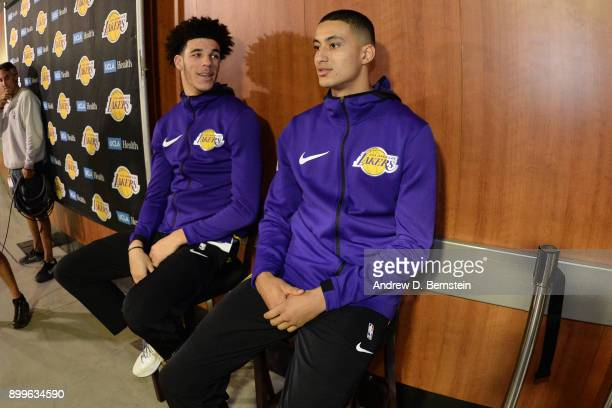 Lonzo Ball and Kyle Kuzma of the Los Angeles Lakers talk before the game against the Memphis Grizzlies on November 5 2017 at STAPLES Center in Los...