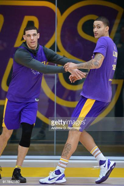 Lonzo Ball and Kyle Kuzma of the Los Angeles Lakers work out during all access practice on February 12 2018 at UCLA Heath Training Center in El...