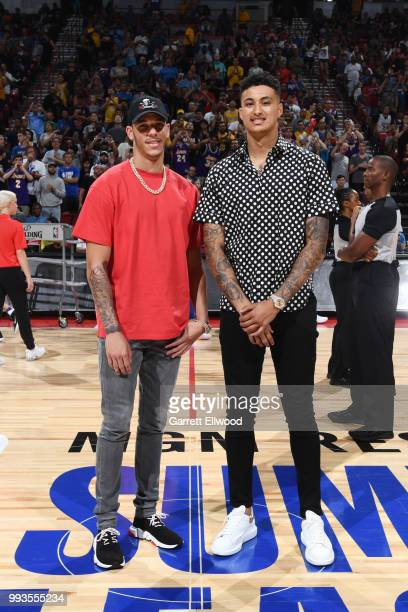 Lonzo Ball and Kyle Kuzma of the the Los Angeles Lakers attend the game against the the Philadelphia 76ers during the 2018 Las Vegas Summer League on...