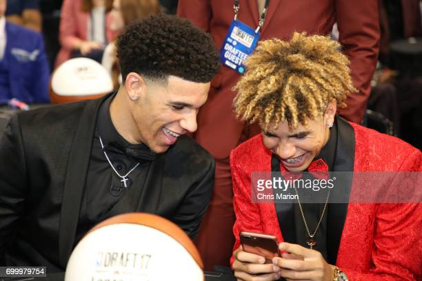 Lonzo Ball and LaMelo Ball prior to the 2017 NBA Draft on June 22 2017 at Barclays Center in Brooklyn New York NOTE TO USER User expressly...
