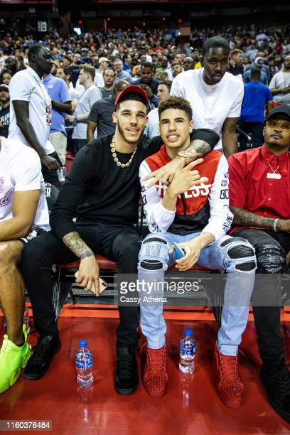 Lonzo Ball and LaMelo Ball smile at the NBA Summer League on July 05, 2019 in Las Vegas, Nevada. NOTE TO USER: User expressly acknowledges and agrees...