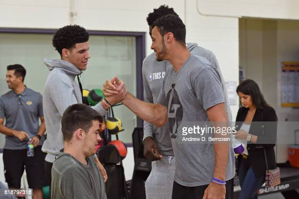 Lonzo Ball and Larry Nance Jr #7 of the Los Angeles Lakers shake hands before a press conference in El Segundo California at the Toyota Sports Center...