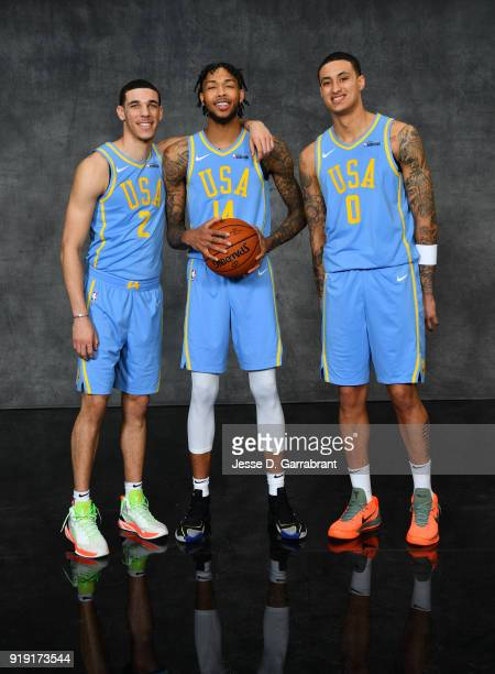 Lonzo Ball Brandon Ingram and Kyle Kuzma of the Los Angeles Lakers pose for portraits before the Mountain Dew Kickstart Rising Stars Game during...