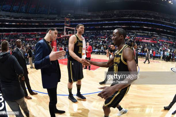 Lonzo Ball Brook Lopez and Andre Ingram of the Los Angeles Lakers shake hands after the game against the LA Clippers on April 11 2018 at STAPLES...
