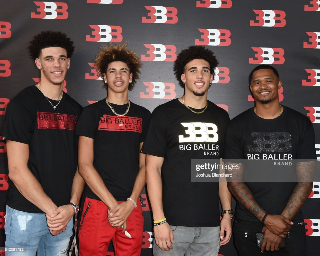Lonzo Ball, LaMelo Ball, LiAngelo Ball and Darren Moore attend Melo Ball's 16th Birthday on September 2, 2017 in Chino, California.