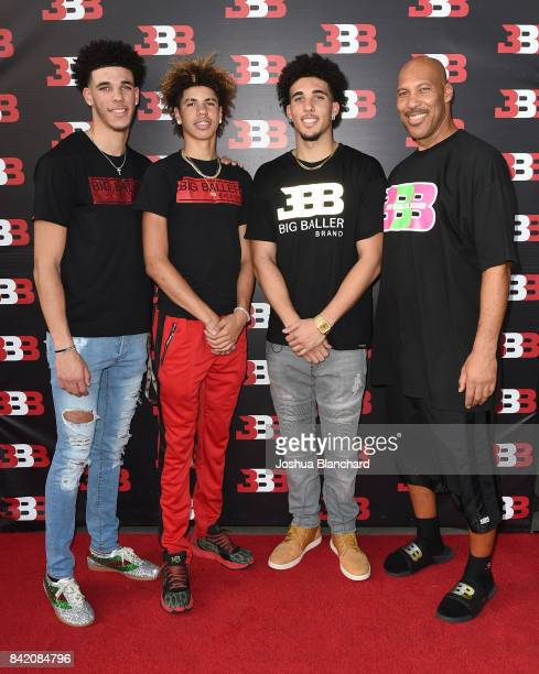 Lonzo Ball, LaMelo Ball, LiAngelo Ball and LaVar Ball attend Melo Ball's 16th Birthday on September 2, 2017 in Chino, California.