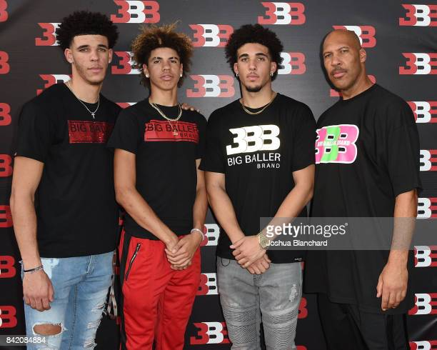 Lonzo Ball LaMelo Ball LiAngelo Ball and LaVar Ball attend Melo Ball's 16th Birthday on September 2 2017 in Chino California