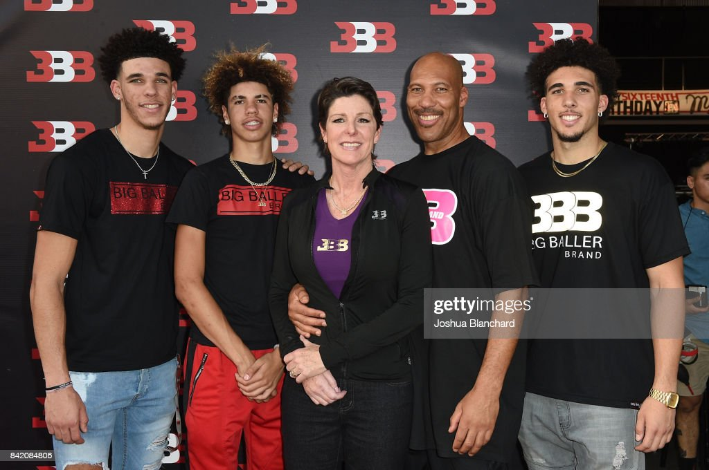 Lonzo Ball, LaMelo Ball, Tina Ball, LaVar Ball and LiAngelo Ball attend Melo Ball's 16th Birthday on September 2, 2017 in Chino, California.