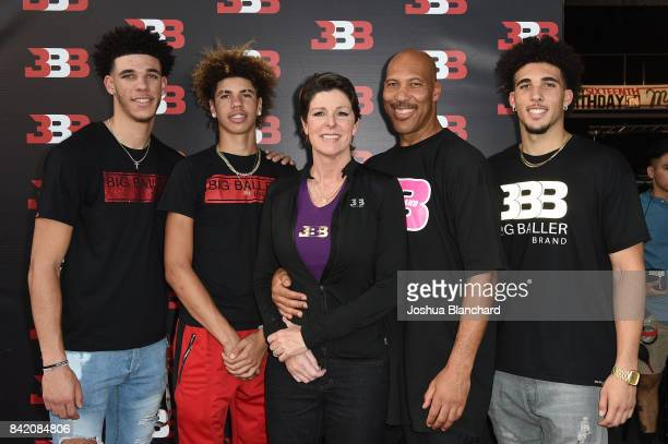 Lonzo Ball LaMelo Ball Tina Ball LaVar Ball and LiAngelo Ball attend Melo Ball's 16th Birthday on September 2 2017 in Chino California