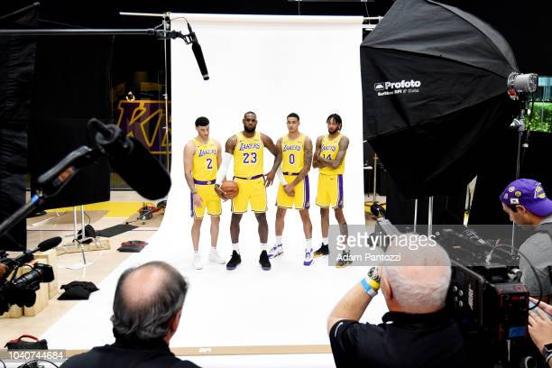 Lonzo Ball LeBron James Kyle Kuzma and Brandon Ingram of the Los Angeles Lakers are seen posing for a portrait during media day at UCLA Health...