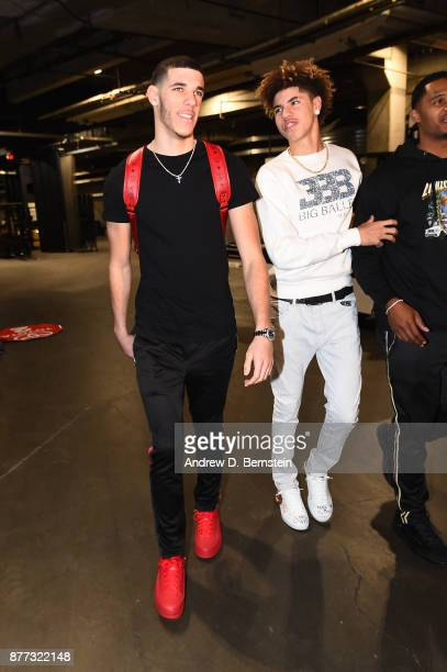 Lonzo Ball of the Los Angeles Lakers and his brother LaMelo Ball arrive before the game against the Chicago Bulls on November 21 2017 at STAPLES...
