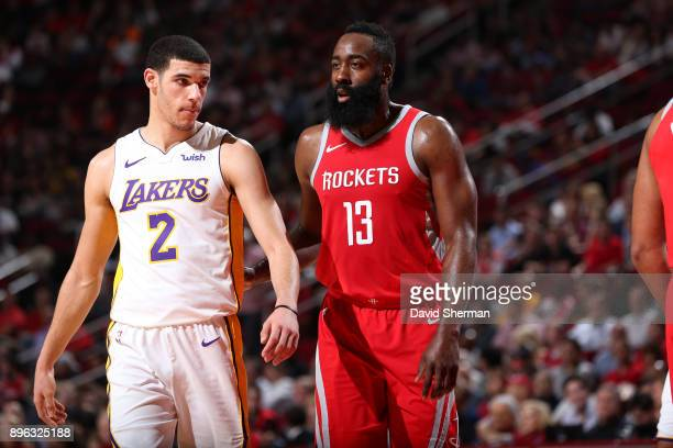 Lonzo Ball of the Los Angeles Lakers and James Harden of the Houston Rockets are seen during the game between the two teams on December 20 2017 at...