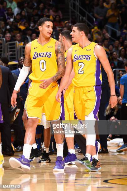 Lonzo Ball of the Los Angeles Lakers and Kyle Kuzma of the Los Angeles Lakers enter court before the game against the Golden State Warriors on...