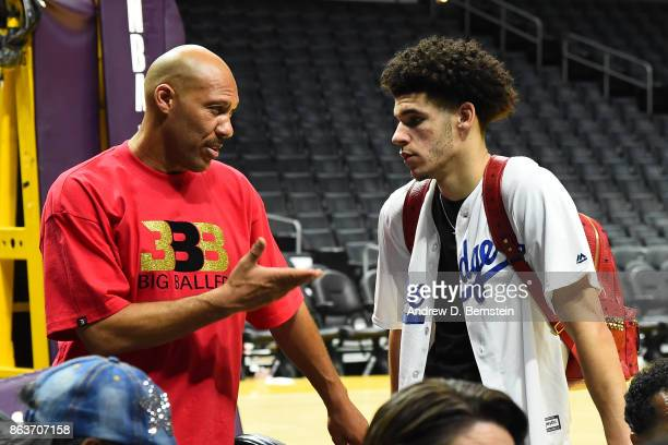 Lonzo Ball of the Los Angeles Lakers and LaVar Ball after the game against the LA Clippers on October 19 2017 at STAPLES Center in Los Angeles...