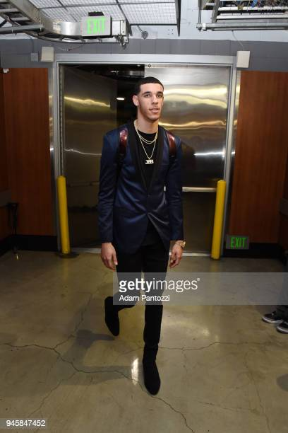 Lonzo Ball of the Los Angeles Lakers arrives at the stadium before the game against the LA Clippers on April 11 2018 at STAPLES Center in Los Angeles...
