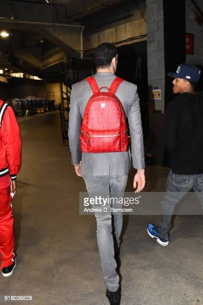 Lonzo Ball of the Los Angeles Lakers arrives before the game against the Oklahoma City Thunder on February 8 2018 at STAPLES Center in Los Angeles...