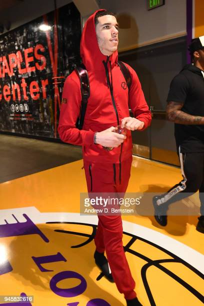 Lonzo Ball of the Los Angeles Lakers arrives before the game against the Houston Rockets on April 10 2017 at STAPLES Center in Los Angeles California...