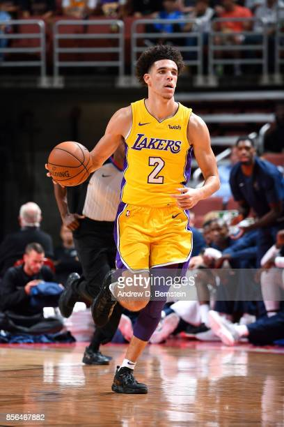 Lonzo Ball of the Los Angeles Lakers brings the ball up court during the game against the Minnesota Timberwolves during the preseason game on...