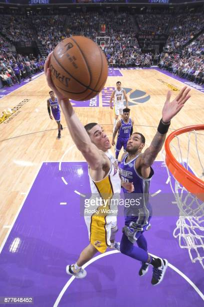 Lonzo Ball of the Los Angeles Lakers dunks the ball during the game against the Sacramento Kings on November 22 2017 at Golden 1 Center in Sacramento...