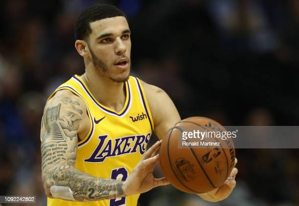 Lonzo Ball of the Los Angeles Lakers during a game against the Dallas Mavericks at American Airlines Center on January 07 2019 in Dallas Texas NOTE...