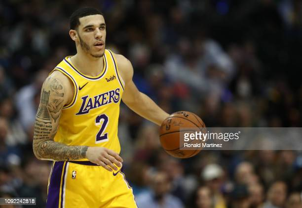 Lonzo Ball of the Los Angeles Lakers during a game against the Dallas Mavericks at American Airlines Center on January 07, 2019 in Dallas, Texas....