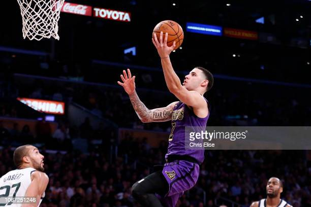 Lonzo Ball of the Los Angeles Lakers goes to the basket against the Utah Jazz on November 23 2018 at the STAPLES Center in Los Angeles California...
